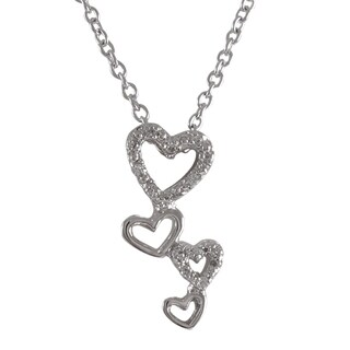 Luxiro Sterling Silver Cubic Zirconia Graduated Open Hearts Cluster Pendant Necklace