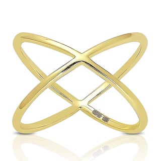 Dolce Giavonna Sterling Silver Criss-cross 'X' Ring