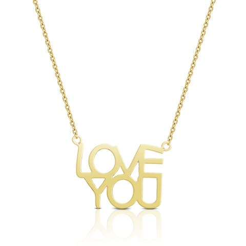 Dolce Giavonna Silver or Gold Overlay 'Love You' Necklace