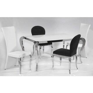 Somette Tabitha White Starfire Dining Set with White Chairs (Set of 5)