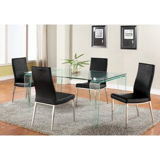 Somette Vivian Clear-top Dining Set with Black Jadyn Chairs (Set of 5)