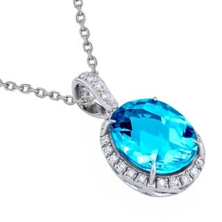 Beverly Hills Charm Sterling Silver 1/8ct. TDW Diamonds and Swiss Blue Topaz Halo Necklace (H-I, SI2-I1)
