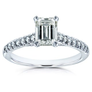 Annello by Kobelli 14k White Gold Emerald-cut Moissanite 1/6 ct TDW Diamond Engagement Ring