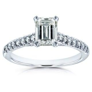 Annello by Kobelli 14k White Gold Emerald-cut Moissanite 1/6 ct TDW Diamond Engagement Ring by Kobelli (G-H, I1-I2)