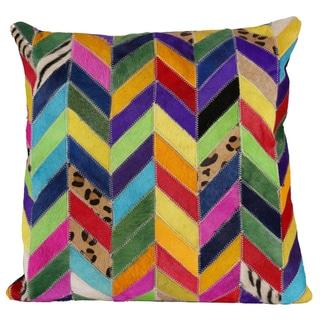 Matador Mutli-color Chevron Leather Hide Pillow