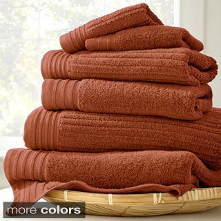 Amraupur Overseas Jacquard/Solid Ribbed 6-piece Towel Set