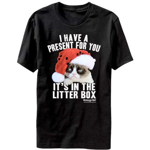 Grumpy Cat I Have A Present For You It's in The Litter Box Christmas T-shirt