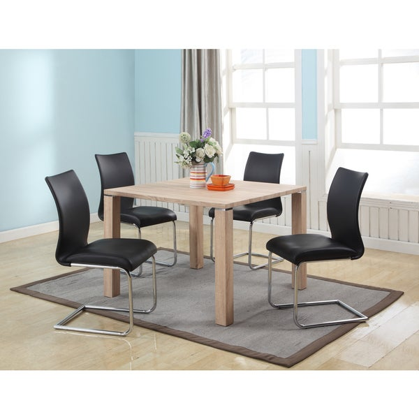 Somette Jayne Light Oak Dining Set With Black Chairs Of 5 Free Shipping Today 9778829
