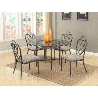 Somette Lexis Clear Glass and Brushed Pewter 5-piece Dining Set