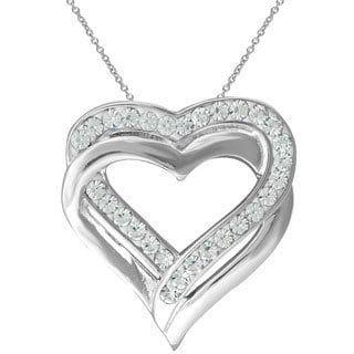 Silvertone Brass Austrian Crystal Double Heart Pendant Necklace