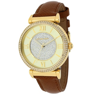 Michael Kors Women's MK2375 Catlin Champagne Crystal Pave Dial Leather Watch