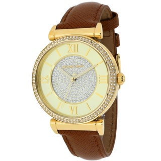 Michael Kors Women's MK2375 Catlin Champagne Crystal Pave Dial Leather Watch - brown