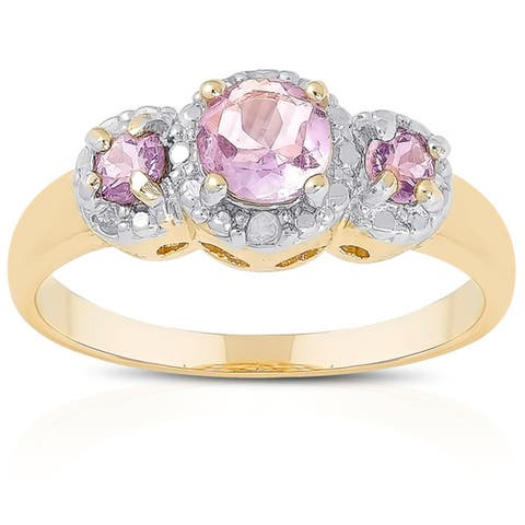 Dolce Giavonna Goldplated Sterling Silver Gemstone and Diamond Accent 3-stone Ring