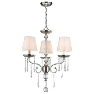 Cassandra 3-light Brushed Nickel Chandelier with Crystal Adorned White Silk Fabric Shade
