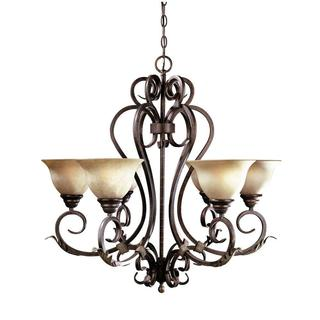 Olympus Tradition 6-light Crackled Bronze/ Silver Chandelier