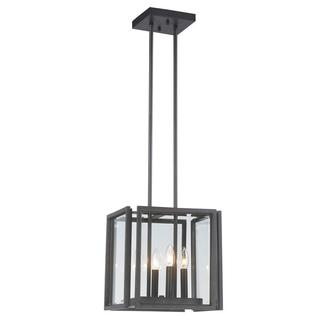 Cubist 4-light Oxide Bronze Pendant with Panel Glass Shade