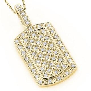 14K Gold Mini Diamond Dog Tag Pendant