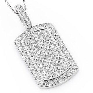 14K Gold Mini Diamond Dog Tag Pendant