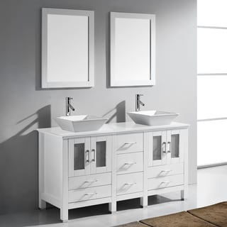 Virtu USA Bradford 60-inch White Double Bathroom Vanity Set