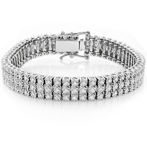 Luxurman 10k Gold 1.8ct 3-row Prong Diamond Bracelet