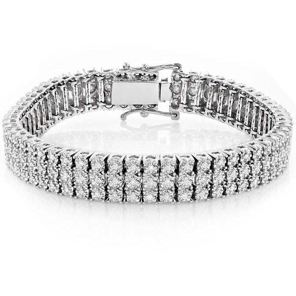 93a4b03ecfdf0 Shop Luxurman 10k Gold 1.8ct 3-row Prong Diamond Bracelet - On Sale ...