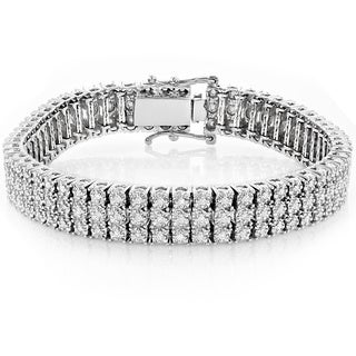 Luxurman 10k Gold 1.8ct 3-row Prong Diamond Bracelet (H-I, SI1-SI2)