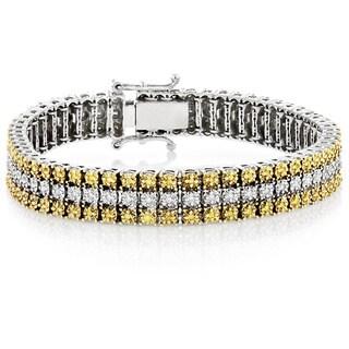 Luxurman 10K Gold 1ct TDW Yellow and White Diamond Three-row Bracelet (H-I, SI1-SI2)