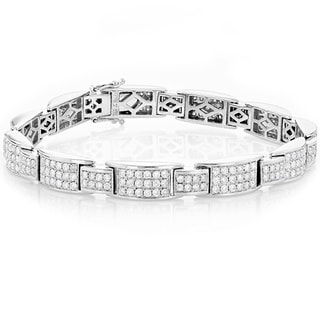 Luxurman 14K White Gold 6.04 ct TDW Pave Diamond Bracelet (G-H, SI1-SI2)