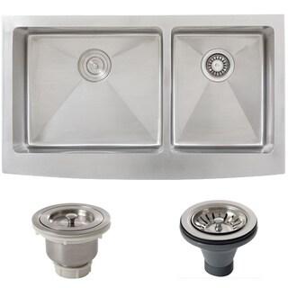 Ticor Stainless Steel Undermount 36-inch Double Bowl Farmhouse Apron Kitchen Sink
