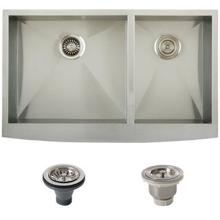 Ticor Stainless Steel Undermount 36-inch Double Bowl Farmhouse Apron Kitchen Sink