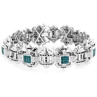 Luxurman 14k White Gold Men's 8 7/8ct TDW Blue Diamond Bracelet (H-I, SI1-SI2)