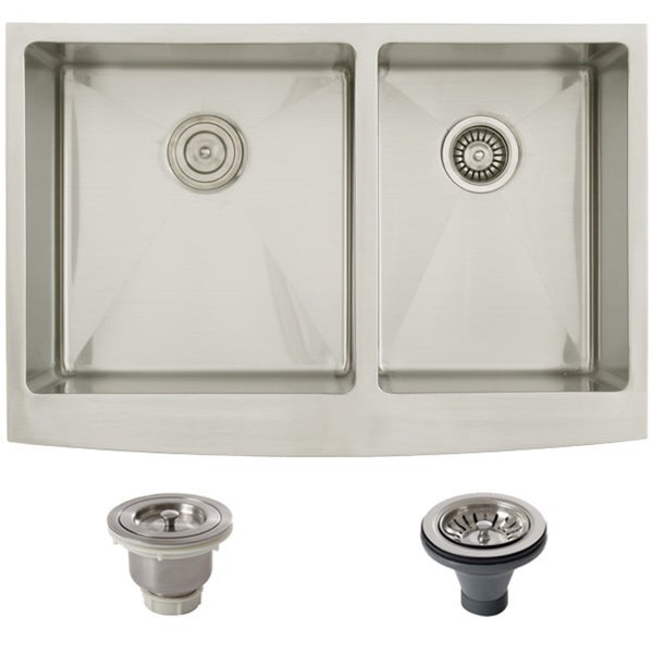 Stainless Steel Double Bowl Farmhouse Sink : ... Stainless Steel Undermount 33-inch Double Bowl Farmhouse Kitchen Sink