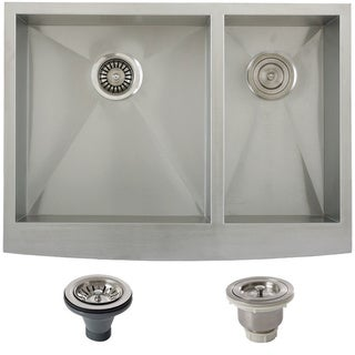 Ticor Stainless Steel Undermount 30-inch Double Bowl Farmhouse Apron Kitchen Sink