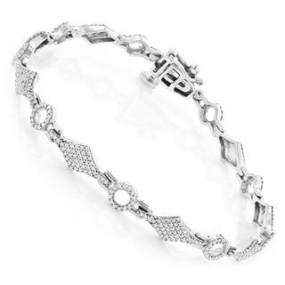 Luxurman 14K White Gold 1.42 ct. TDW Pave-set Diamond Bracelet (H-I, SI1-SI2)