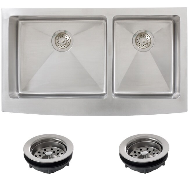 Ticor Stainless Steel Undermount 36 -inch Double Bowl Far...