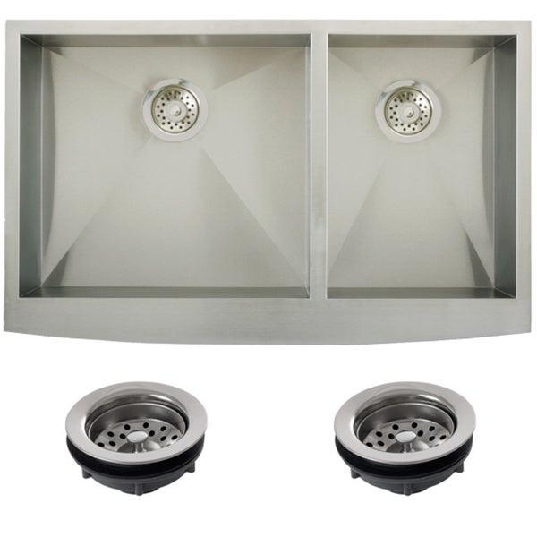 Ticor Stainless Steel Undermount 36 Inch Double Bowl Farmhouse Apron Kitchen  Sink