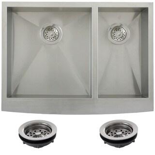 Ticor Stainless Steel Undermount 30-inch Double Bowl Farmhouse Apron Kitchen Sink