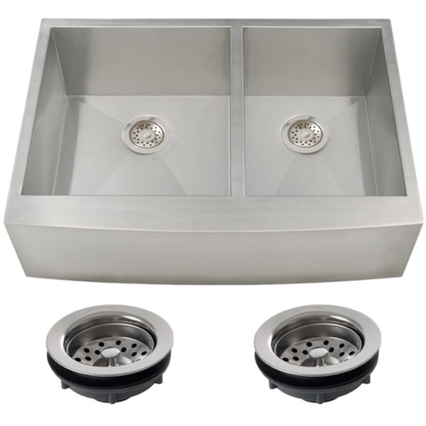 double kitchen sinks for sale shop ticor stainless steel undermount 33 inch bowl 8810
