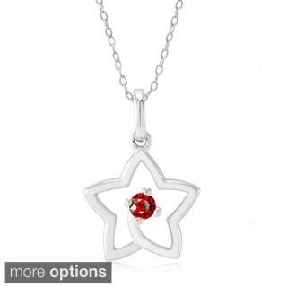 Sterling Silver Cubic Zirconia Birthstone Open Star Pendant