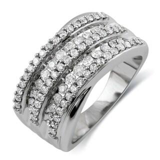 Bridal Symphony 10k White Gold 1ct TDW Diamond Anniversary Ring (I-J, I2-I3)