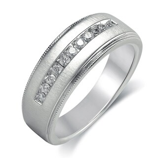 Bridal Symphony Sterling Silver Men's 1/4ct TDW Diamond Ring (I-J, I2-I3)