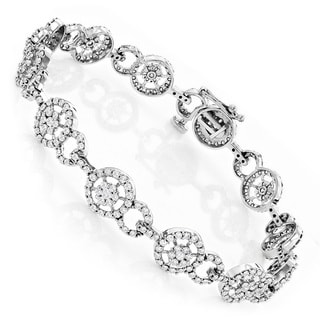Luxurman 14k White Gold 4 4/5ct TDW Diamond Circle Bracelet (H-I, SI1-SI2)
