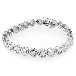 Luxurman 14k White Gold 4 5/8ct TDW Diamond Circle Bracelet (H-I, SI1-SI2)