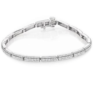 Luxurman 14k White Gold 2 1/6ct TDW Designer Diamond Tennis Bracelet (H-I, SI1-SI2)