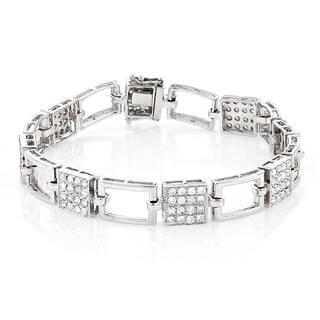 Luxurman 14k White Gold 3ct TDW Diamond Square Link Bracelet (G-H, SI1-SI2)