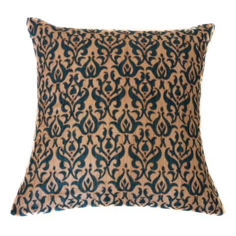Jiti Dark Blue Tussar Brocade Vintage Embroidered Cotton Accent Pillow - 20 x 20