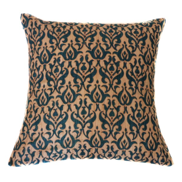 Jiti Dark Blue Tussar Brocade Vintage Embroidered Cotton Accent Pillow - 20 x 20. Opens flyout.