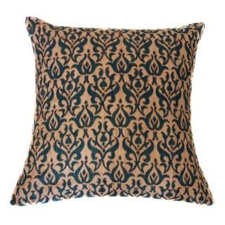 Jiti Tussar Blue Brocade Linen Sqaure Accent Pillow