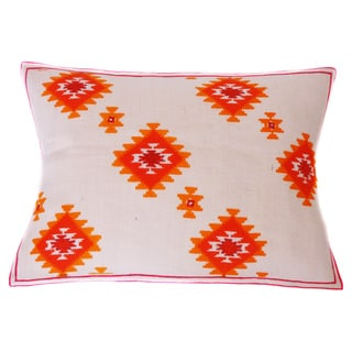 Jiti Kora Jute Orange Linen Accent Pillow