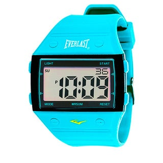 Everlast Sport Men's Square Watch with Turquoise Rubber Strap